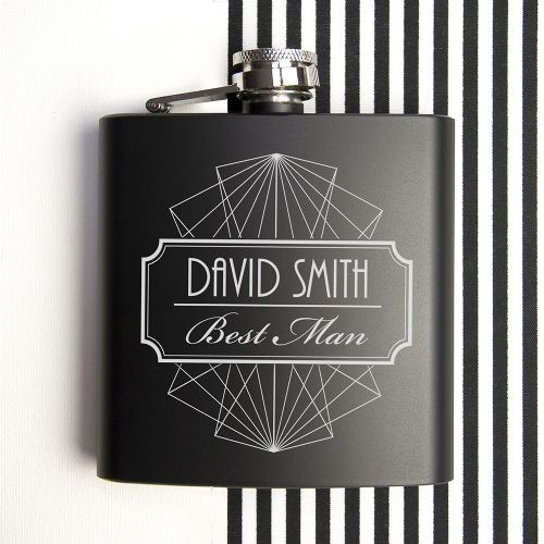 Personalised My Best Man Black Matte Hip Flask